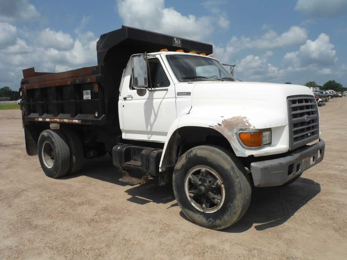 Deanco Auctions 1954 Ford F600 Dump Truck 1996 F Series Single Axle S N 1fdx80c6tva30323 Diesel Eng 9 Sp 6 7 Yard Ox Bodies Bed County Owned